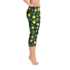 """Lemons"" Black Capri Leggings - vegan-styles"