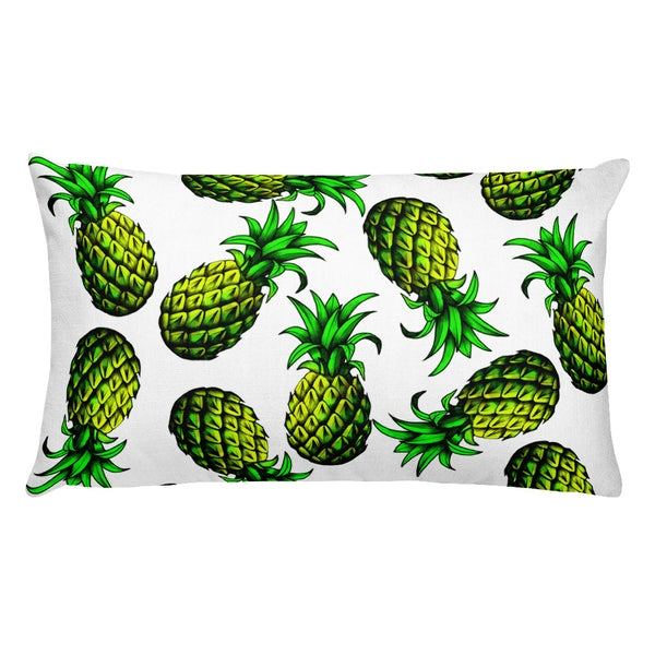 """Pineapple"" White Premium Pillow - vegan-styles"