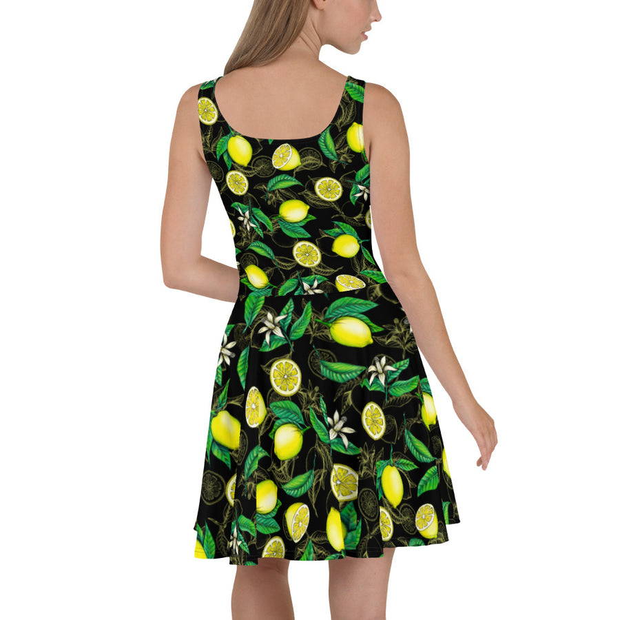 '' Black Lemons'' Skater Dress - vegan-styles