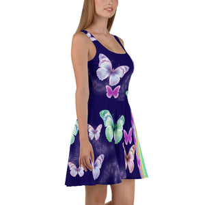 """ Butterflies "" Purple Skater Dress - vegan-styles"