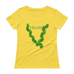 """Leaves"" Ladies' Scoopneck T-Shirt - vegan-styles"
