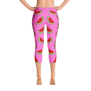 """Vegan Watermelon"" Capri Leggings - vegan-styles"