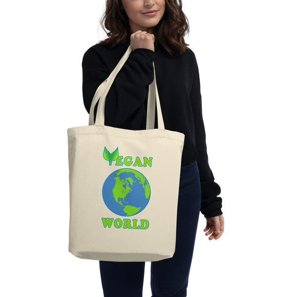 Eco Tote Bag Organic Cotton bag ''vegan world'' - vegan-styles