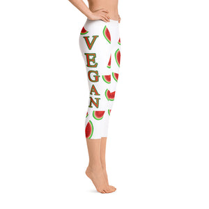"""Vegan Watermelon"" White Capri Leggings - vegan-styles"