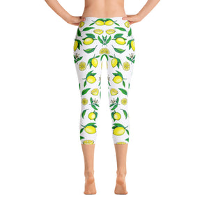 """Lemons"" White Capri Leggings - vegan-styles"