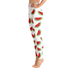 """Watermelon"" White Yoga Leggings - vegan-styles"