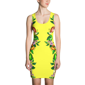 "Vegan-Styles ""Apples"" Yellow Sublimation Cut & Sew Dress - vegan-styles"