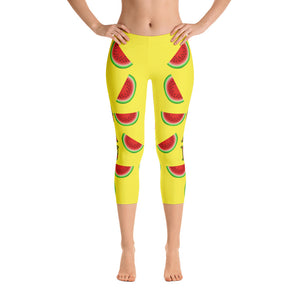 """Vegan Watermelon"" Yellow Capri Leggings - vegan-styles"