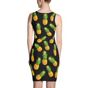 """Pineapple"" Black Dress - vegan-styles"