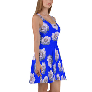 """White Rose"" Blue Dress Skater Dress - vegan-styles"