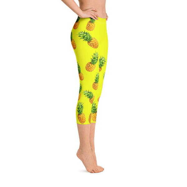 """Pineapple"" Yellow Capri Leggings - vegan-styles"