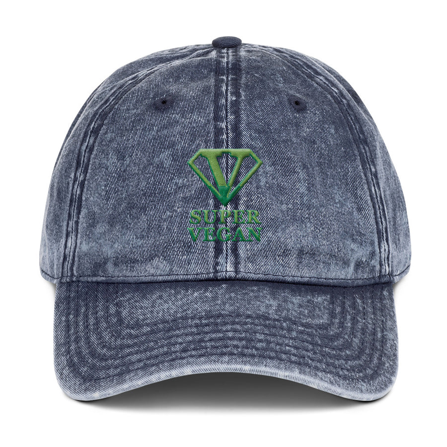 '' Super vegan'' Vintage Cotton Twill Cap - vegan-styles