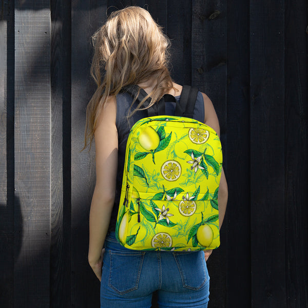 '' Yellow Lemons'' Backpack - vegan-styles