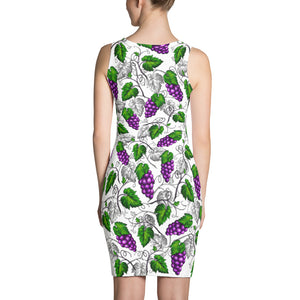 """Grapes"" White Sublimation Cut & Sew Dress - vegan-styles"