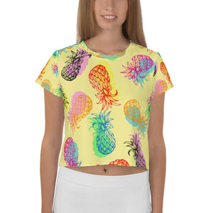 ''yellow multi pineapples'' All-Over Print Crop Tee - vegan-styles