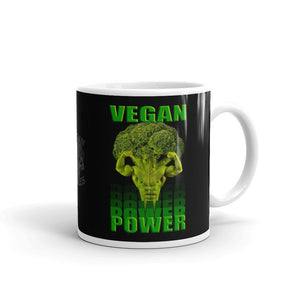 "Vegan Styles ""Vegan Power"" Black Ceramic Mug - vegan-styles"
