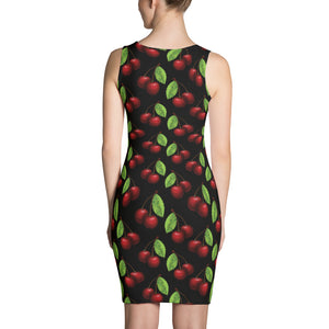 """Cherry"" Black Sublimation Cut & Sew Dress - vegan-styles"