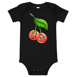 '' Cherries'' Baby Bodysuit T-Shirt - vegan-styles