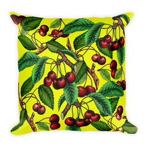 """Cherry"" Yellow Premium Pillow - vegan-styles"