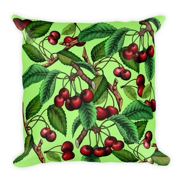 """Cherry"" Green Premium Pillow - vegan-styles"