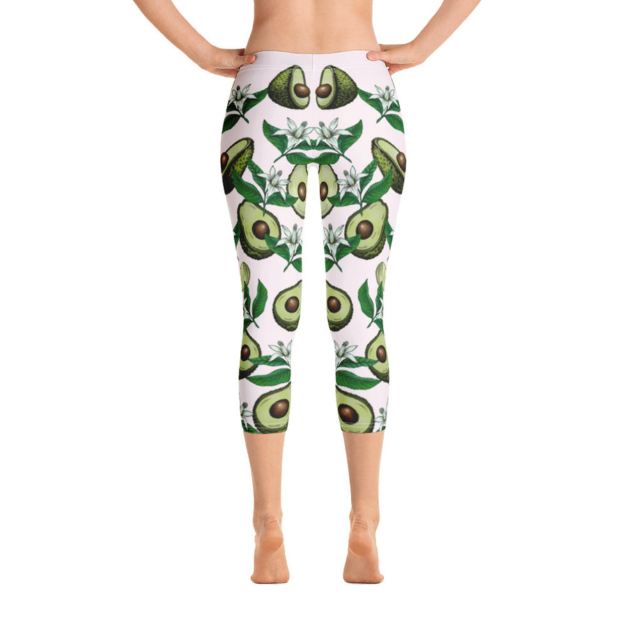 """Avocado White"" Capri Leggings - vegan-styles"