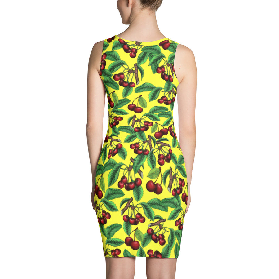 """Cherry"" Yellow Sublimation Cut & Sew Dress - vegan-styles"
