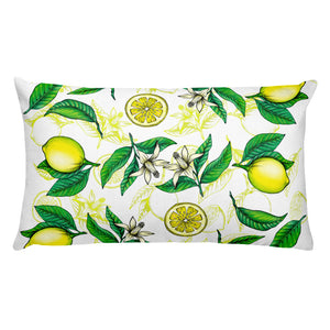 """Lemons"" White Premium Pillow - vegan-styles"