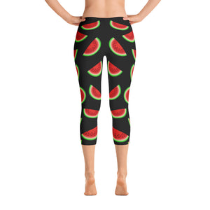 """Watermelon"" Black Capri Leggings - vegan-styles"