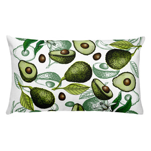 """Avocado"" White Premium Pillow - vegan-styles"