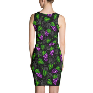 Grape Themed Black Colored Sublimation Comfort Stretch to Perfect Fit Cut & Sew Women's Dress - vegan-styles
