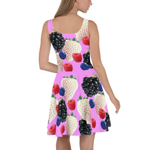 """Berry"" Pink Skater Dress - vegan-styles"
