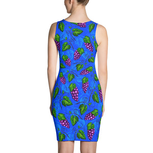 Grape Themed Blue Colored Sublimation Comfort Stretch to Perfect Fit Cut & Sew Women's Dress - vegan-styles