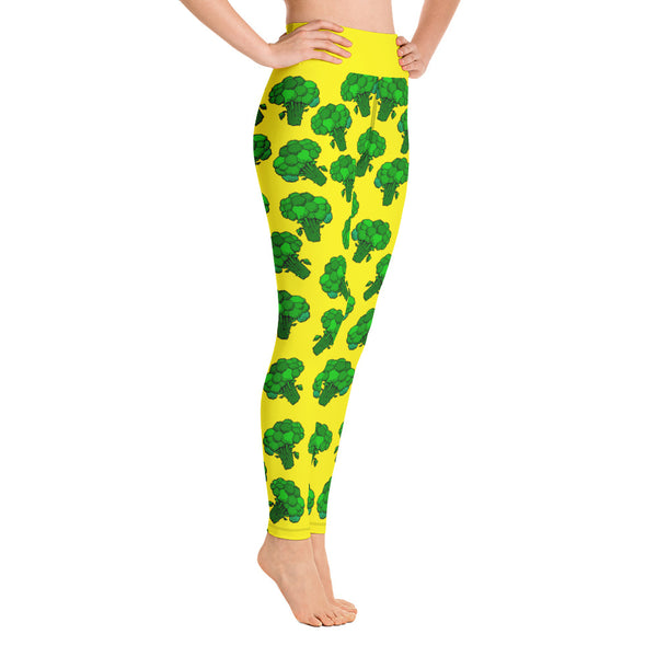 """Broccoli"" Yellow Yoga Leggings - vegan-styles"