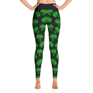 """Broccoli"" Black Yoga Leggings - vegan-styles"