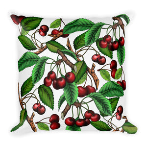 """Cherry"" White Premium Pillow - vegan-styles"