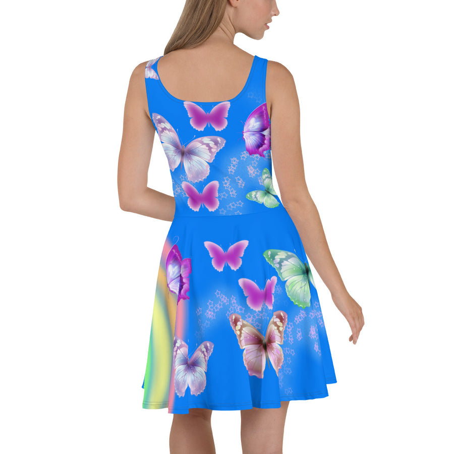 """ Butterflies "" Blue Skater Dress - vegan-styles"