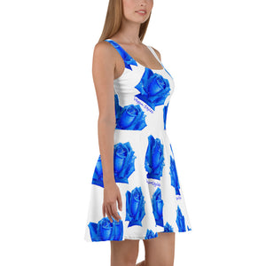 """Blue Rose"" White Skater Dress - vegan-styles"
