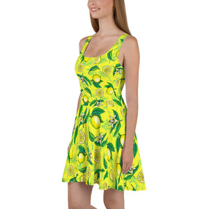 '' Lemons'' Skater Dress - vegan-styles