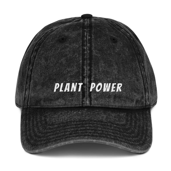 '' plant power'' Vintage Cotton Twill Cap - vegan-styles