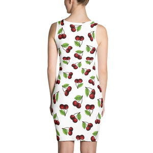 """Cherry"" White Sublimation Cut & Sew Dress - vegan-styles"