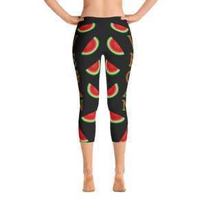 """Vegan Watermelon"" Black Capri Leggings - vegan-styles"