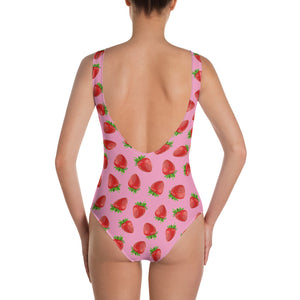 """Strawberry"" Pink One-Piece Swimsuit - vegan-styles"