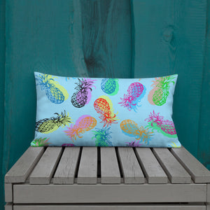 '' Blue Pineapples'' Premium Pillow - vegan-styles