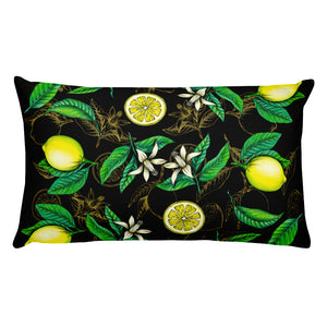 """ Lemons"" Black Premium Pillow - vegan-styles"
