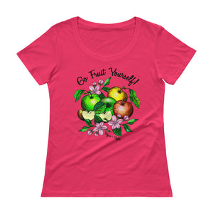 "Vegan-Styles ""Go Fruit Yourself"" Ladies' Scoopneck T-Shirt - vegan-styles"