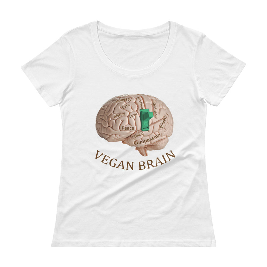 """ Vegan Brain"" Ladies' Scoopneck T-Shirt - vegan-styles"