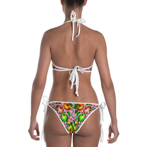 """Apples"" Reversible Bikini (White and Pink} - vegan-styles"
