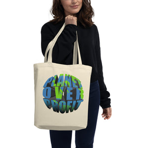 '' planet over profit'' Eco Tote Bag - vegan-styles