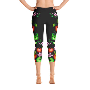"Vegan-Styles ""Apples"" Black Capri Leggings - vegan-styles"