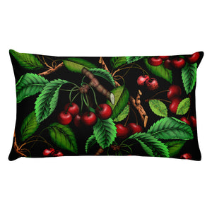 """Cherry"" Black Premium Pillow - vegan-styles"